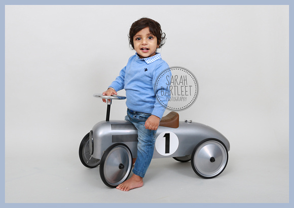 One Year Old Photographs with vintage car